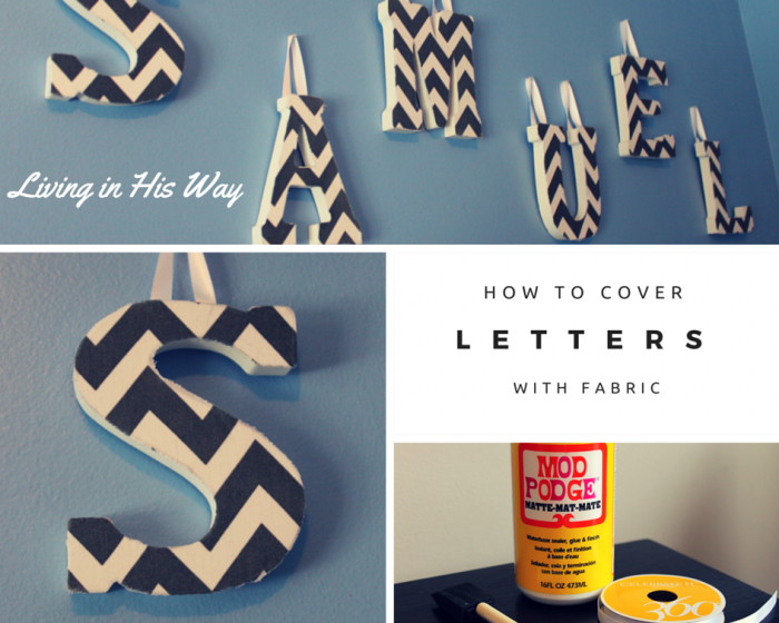 How to cover wooden letters with fabric