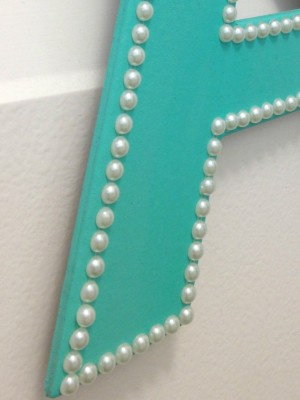 Adding Pearl Stickers to Wooden Letter Monogram