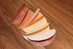 Folded paper circles for pumpkin craft