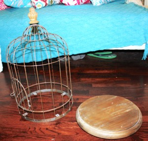 separated birdcage for DIY Chandelier Upcycle