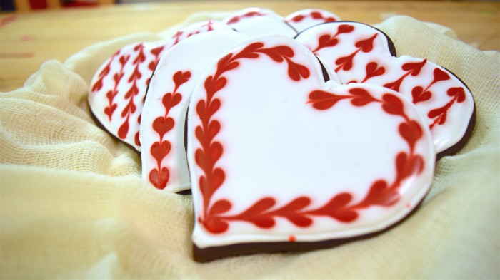 Valentine's Day Cookies decorated with Royal Icing