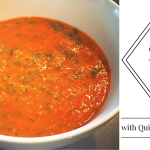 Creamy Tomato Spinach Soup with Quinoa and Chickpeas