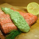 Salmon with Avocado Dill Yogurt Sauce
